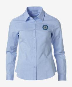 Afbeelding MBCN blouse dames met logo op de borst blauw