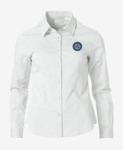 Afbeelding MBCN blouse dames met logo op de borst wit