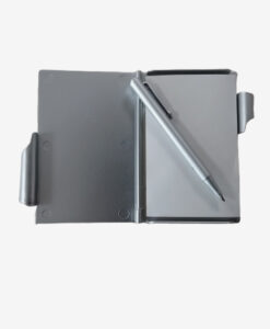 Afbeelding notitie blokje met pen zilver